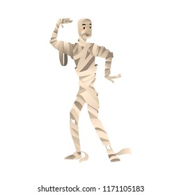Vector illustration of person in mummy costume for halloween party greeting or invitation on cartoon style isolated on white background - autumn holiday traditional carnival wear.