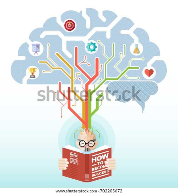 vector illustration of a person reading a book