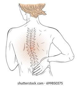 Vector illustration with person suffering from pain in the back. Worried back. Injured person.  Sketch.