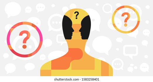 vector illustration of person with two faces inside for inner dialog and psychological conflict visual