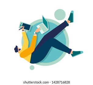 Vector illustration of a person in zero gravity at work, business and document management, thinking and brainstorming. Analytics information about the company