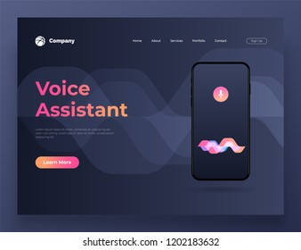 Vector illustration personal assistant and voice recognition on mobile app. For website and mobile website development. Background design.