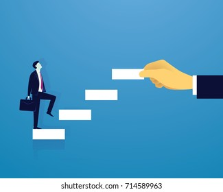 Vector illustration. Personal development concept. Future success. first step. Businessman start climbing stair for successful career achievement, development growth progress vision future