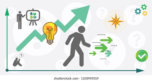 vector illustration of personal path with arrows and lines for measuring success or business strategy concept