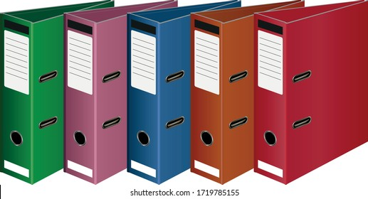 Vector Illustration  perspective Multicolor Ring Binders