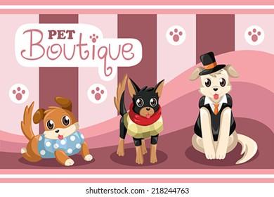 A vector illustration of pet boutique