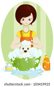 A vector illustration of a pet groomer
