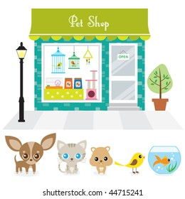 Vector illustration of a pet shop with large window display on a street. Also includes illustration of chihuahua puppy, cat, hamster, bird, and goldfish.
