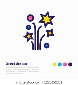 Vector illustration of petard icon colored line. Beautiful event element also can be used as sparkle icon element.