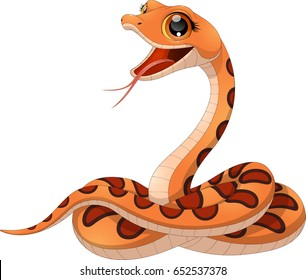 Vector illustration petite funny snake on a white background