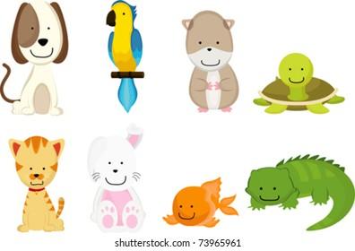 A vector illustration of pets cartoon