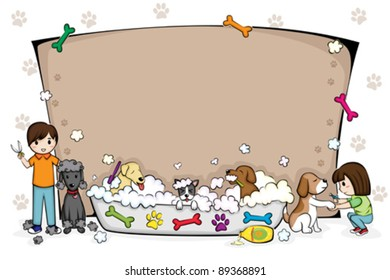 A vector illustration of a pets grooming salon banner
