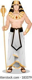 Vector illustration of Pharaoh holding a serpent staff.
