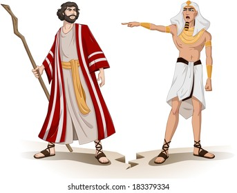 Vector illustration of Pharaoh sending Moses away.