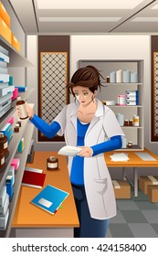 A vector illustration of pharmacist working in the pharmacy drugstore