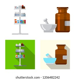 Vector illustration of pharmacy and hospital symbol. Collection of pharmacy and business stock symbol for web.