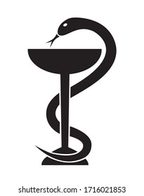 Vector illustration of a pharmacy logo with Aesculapian snake