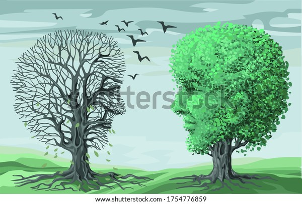 Vector illustration of philosophy of life symbol. Two opposing contrasting trees in the shape of human heads. Psi. Live and dry plant. The concept of mental health, psychoanalysis and psychotherapy.