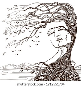 Vector illustration of philosophy, symbol of life, female psychology. Woman in the form of an autumn tree. The concept of mental health, psychoanalysis and psychotherapy.