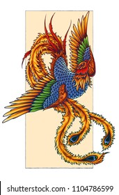 Vector illustration of phoenix firebird flame mythical creature