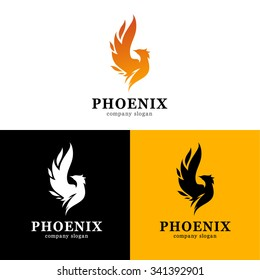 Vector illustration of phoenix. Modern logo idea.