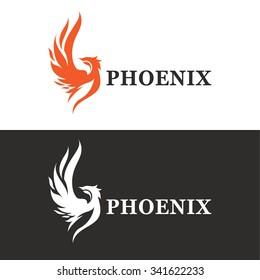 Vector illustration of phoenix. Modern logo idea.