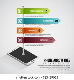 Vector illustration of phone arrow tree infographic design element.