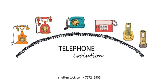 Vector illustration of phone evolution with wire frame. Vector vintage means of communication set with text. Retro collection of wired rotary dial telephone, radio phone with buttons.