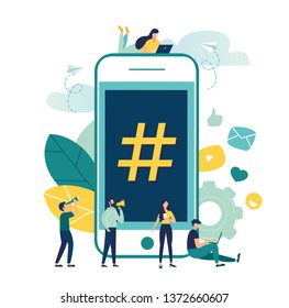 Vector illustration, phone with hashtag sign, people and social networks.