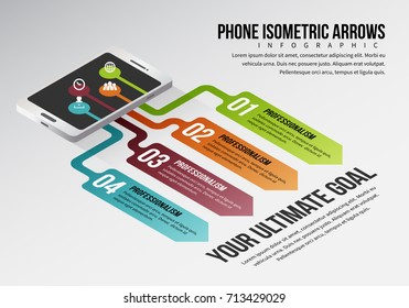 Vector illustration of phone isometric arrows infographic design elements.