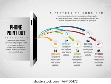Vector illustration of Phone Point Out Infographic design element.