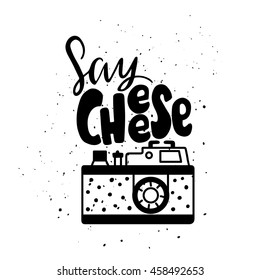 Vector illustration with photo camera logo. Lettering. Say Cheese