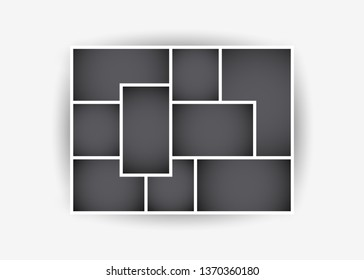 Vector illustration of photo collage frames for presentations, photo montage. Template. The object on an isolated light background.