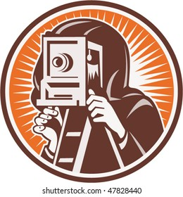 vector illustration of a Photographer with vintage camera set inside circle.