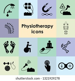 vector illustration of physiotherapy procedures and tools for rehabilitation and physical therapy