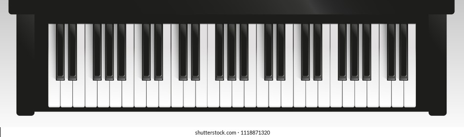 Vector illustration. Piano keys. Top view.