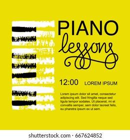 Vector illustration, piano lessons poster design.
