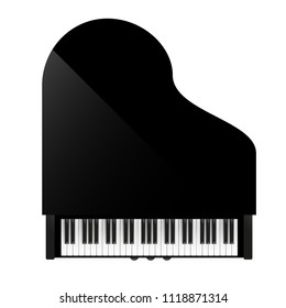 Vector illustration. Piano. Top view.