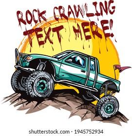 Vector illustration of pickup truck rock crawler - suitable for logo design.