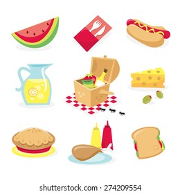 A vector illustration of picnic related icons. Included in this set:- watermelon, cutlery, hot dog, pitcher of lemonade, picnic basket, cheese and olive, pie, drumstick and condiment and sandwich.