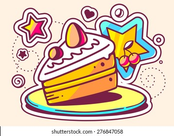 Slice of Cake Line Art Images, Stock Photos & Vectors