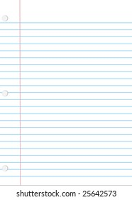 A vector illustration of a piece of loose leaf notebook paper with shadow