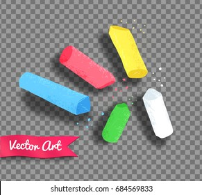 Vector illustration of pieces of chalk with shadow on transparency background.