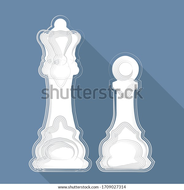 illustration vectorielle, morceaux d'échecs sur fond bleu