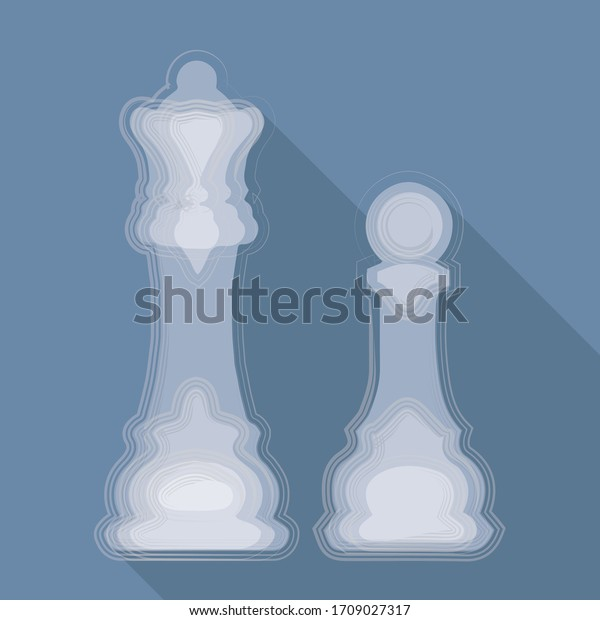 vector illustration, pieces of chess on blue background