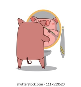 Vector Illustration of pig Brushing her teeth