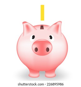 Vector illustration of pig cartoon moneybox isolated with coin