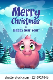 Vector illustration pig greeting card Merry Christmas. For web, video games, user interface, design.