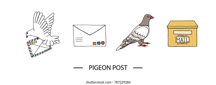 Vector illustration of pigeon carrying a letter with stamps, dove, post box. Hand drawn communication icon set. Pigeon post signs isolated on white background with text.