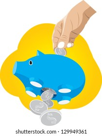 A vector illustration of a piggy bank that is leaking coin, representing financial loss through poor money management.
